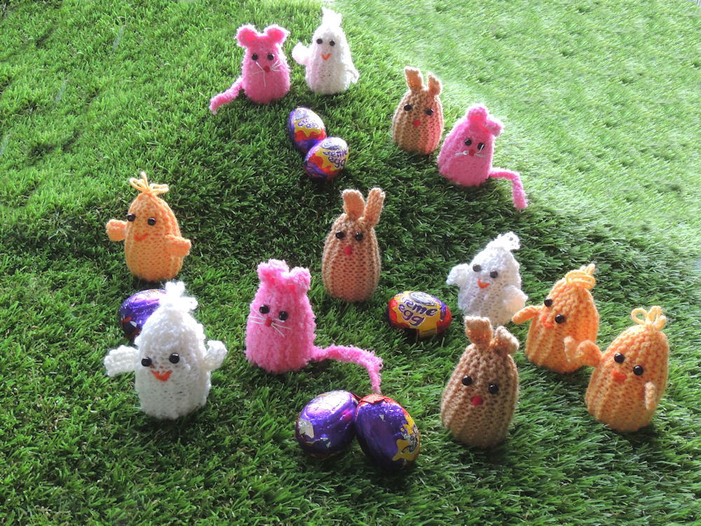 Creme Egg Knits, chicks, ducks, rabbits and mice